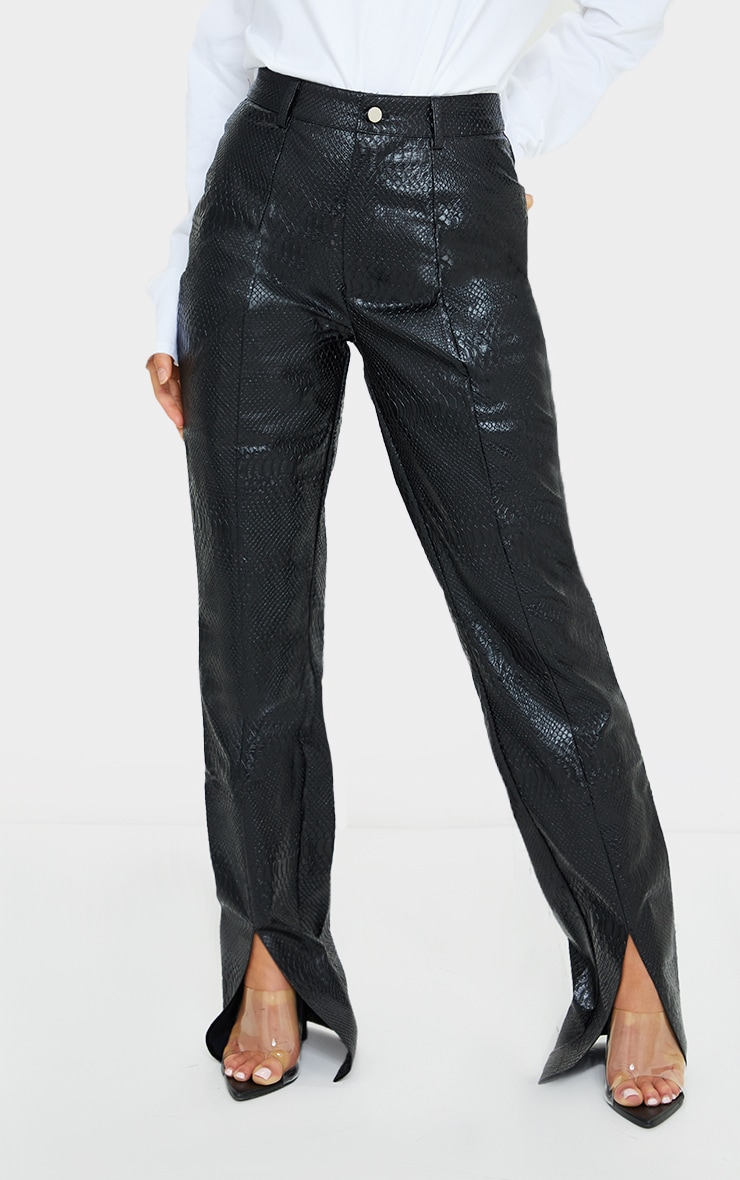 Petite PREMIUM Black Faux Leather Croc Split Hem Skinny Trousers 2