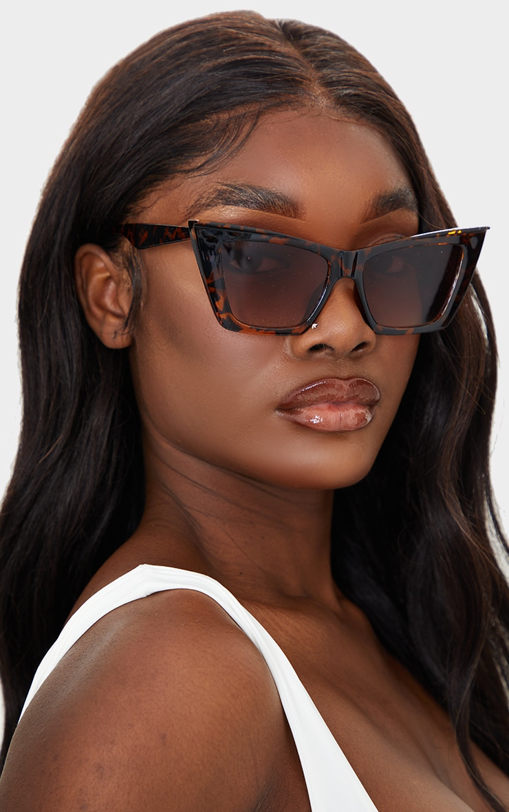 Brown Tortoiseshell Square Slim Cat Eye 1