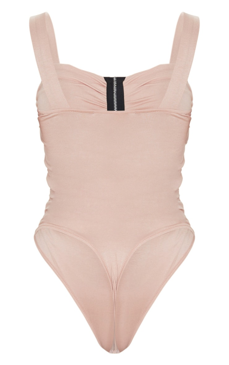 Sand Jersey Ruched Zip Front Bodysuit 4