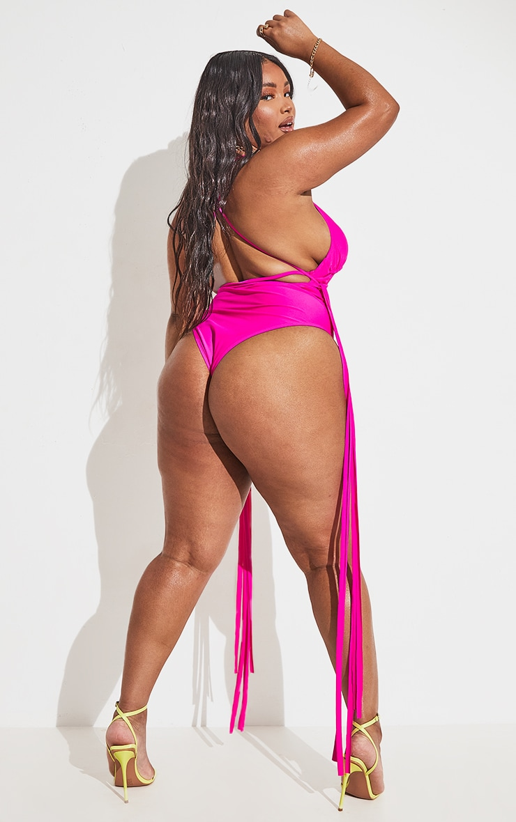 Plus Hot Pink Wrapped Strappy Tassel Side Swimsuit 5
