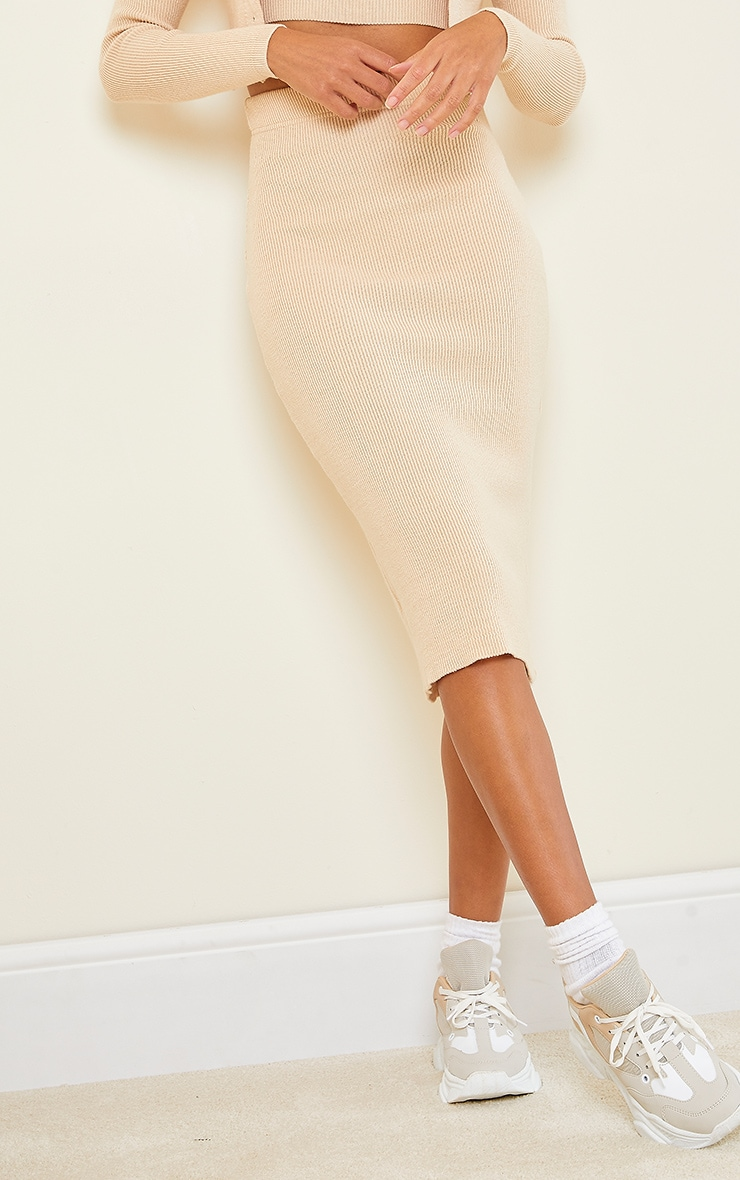 Stone All Over Ribbed Knitted Midi Skirt 2