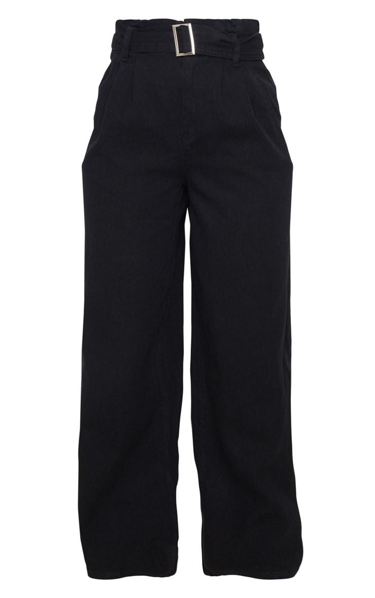 Black Belted Wide Leg Jeans 5