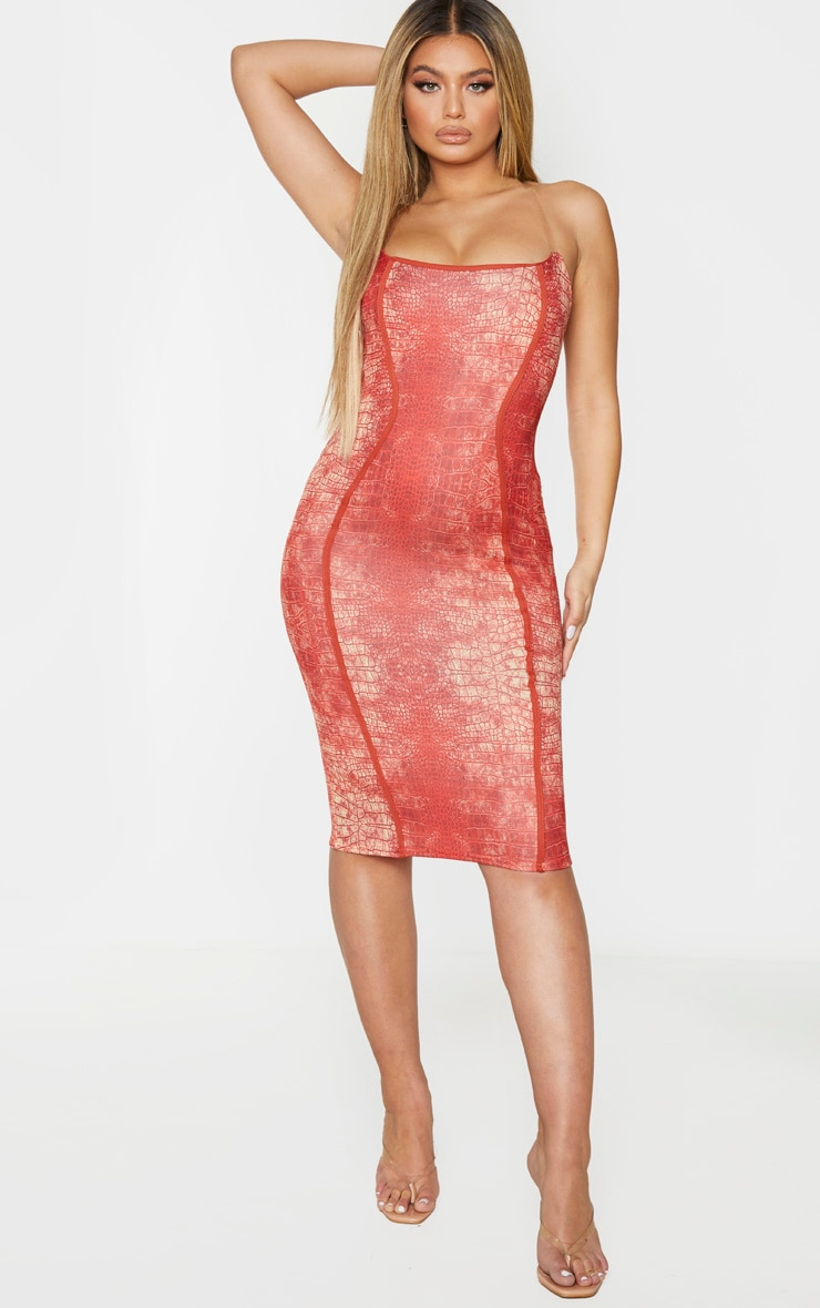 Red Snake Print Binded Detail Clear Strap Midi Dress 1