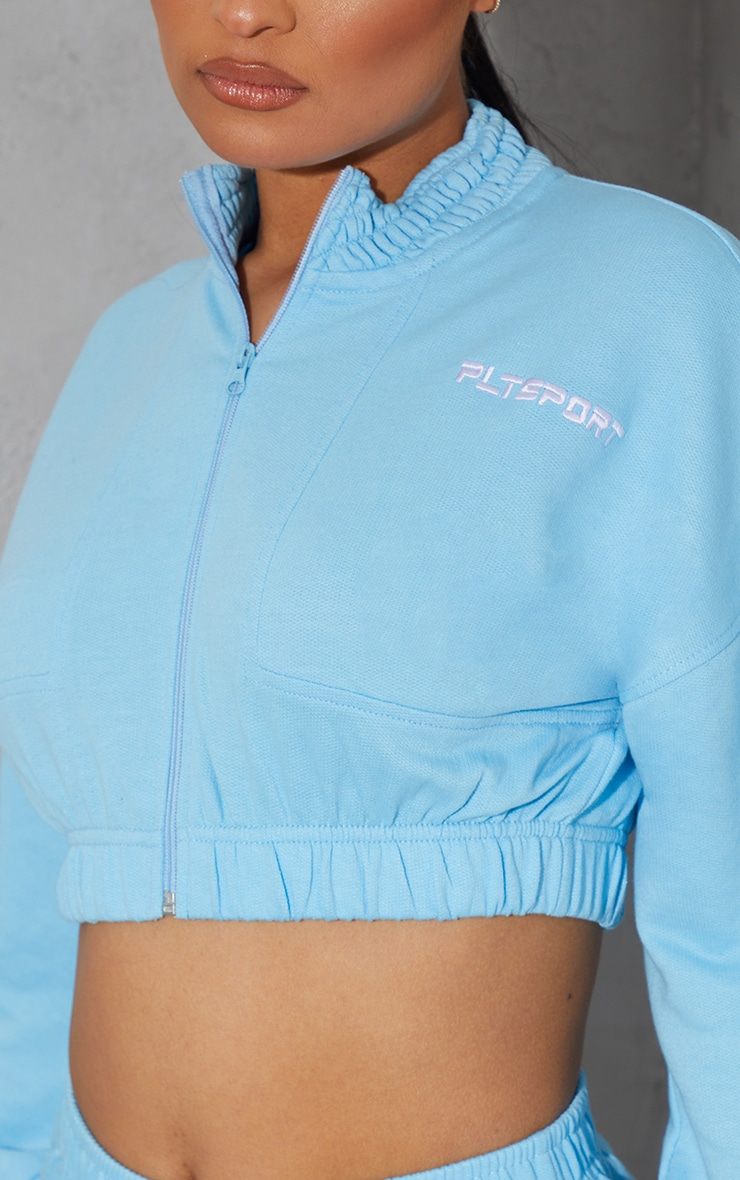 PRETTYLITTLETHING Blue Embroidered Cropped Zip Up Sweat 4