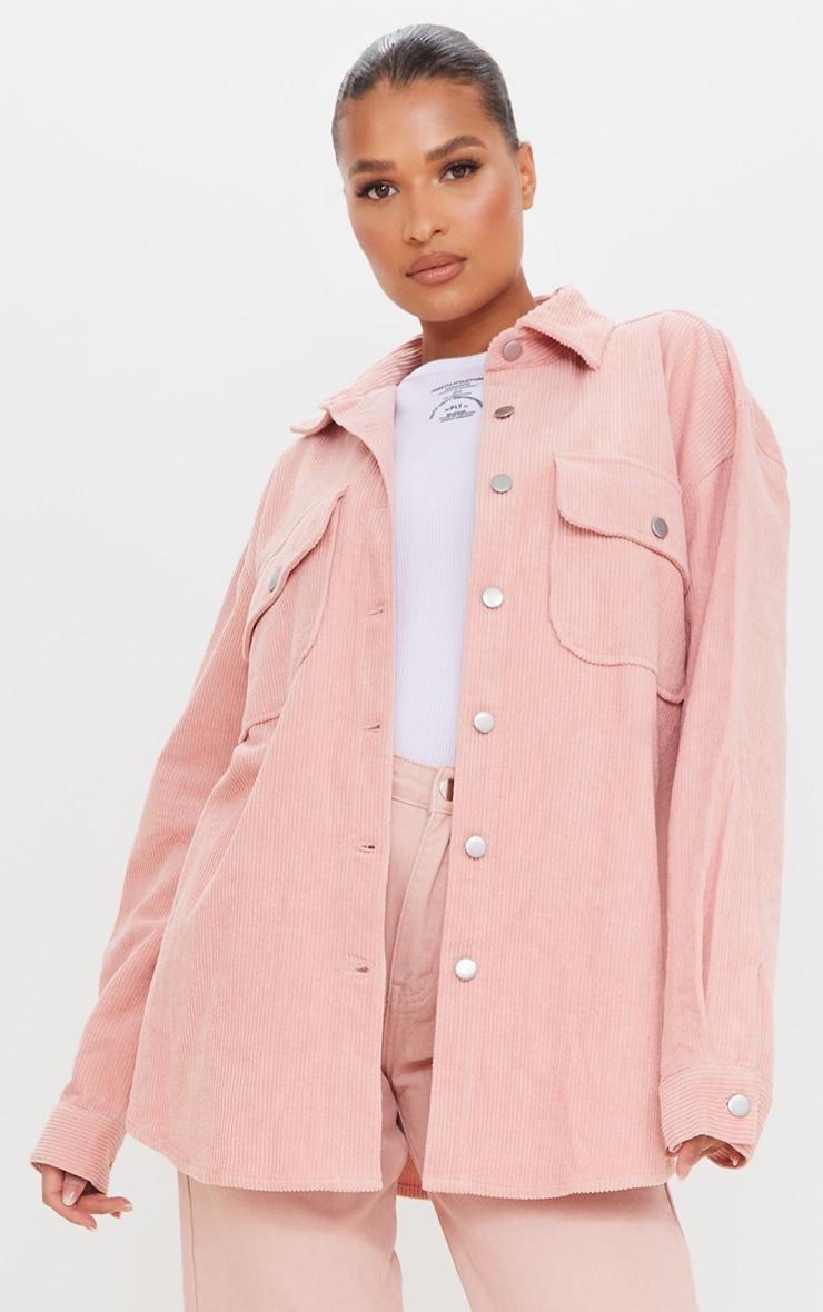 Pink Oversized Cord Shacket 3