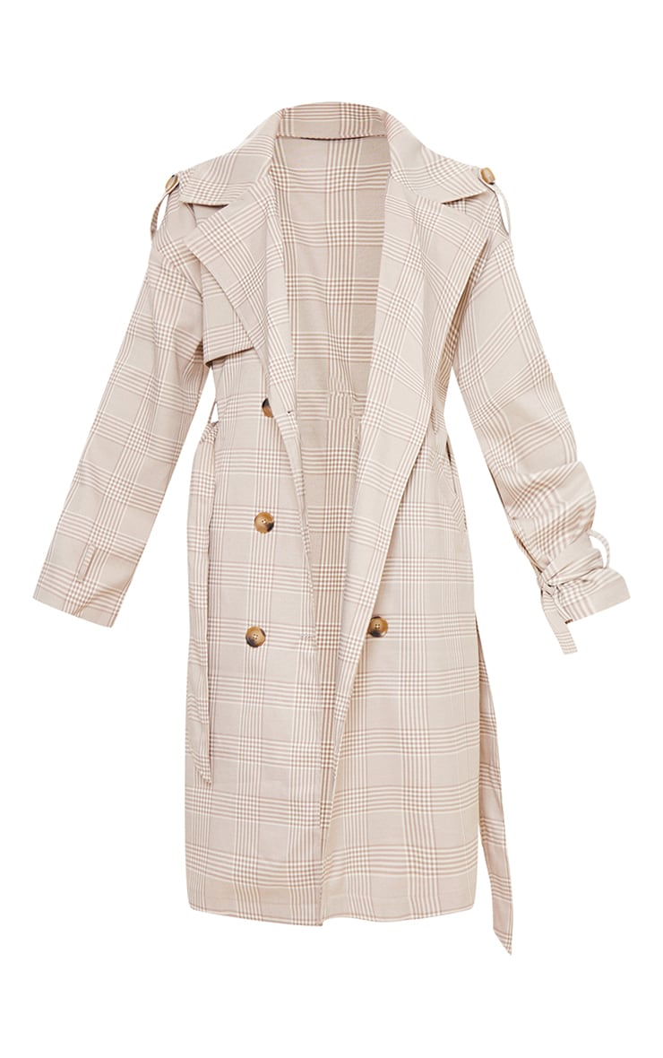 Stone Checked Woven Drop Shoulder Belted Trench 5