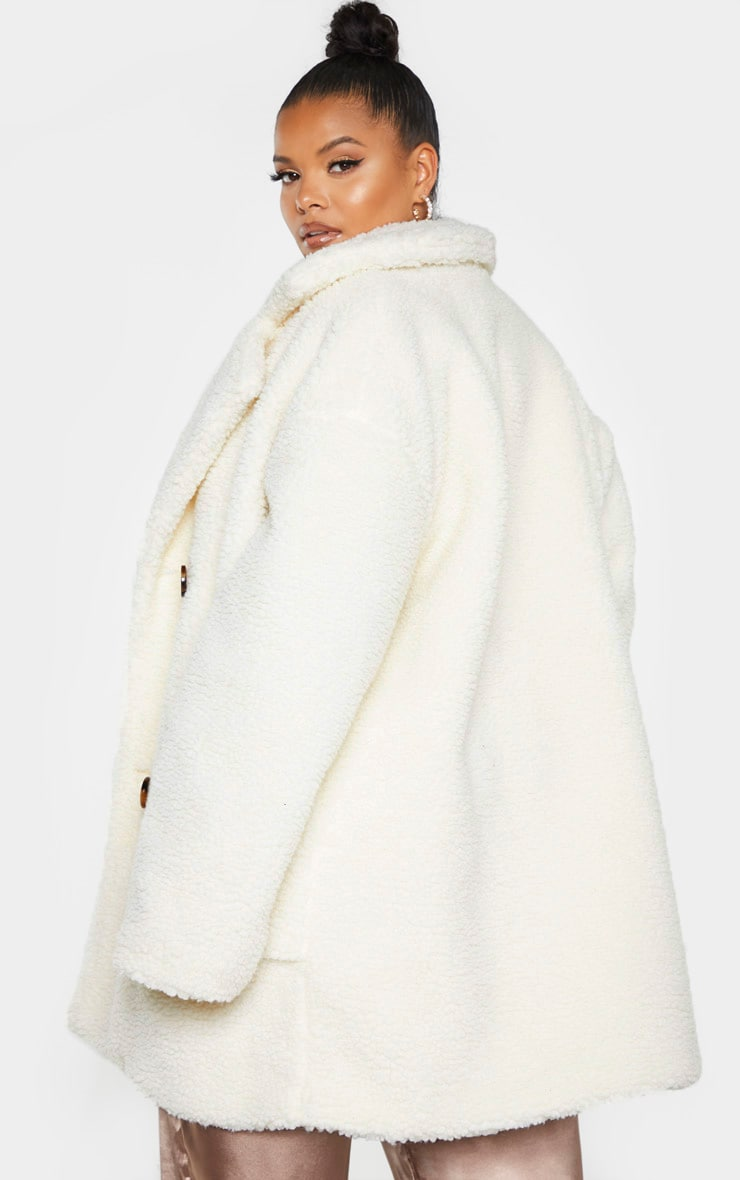 Plus Cream Borg Midi Coat 2