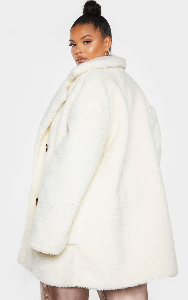 PLT Plus - Manteau mi-long en imitation peau de mouton crème 2