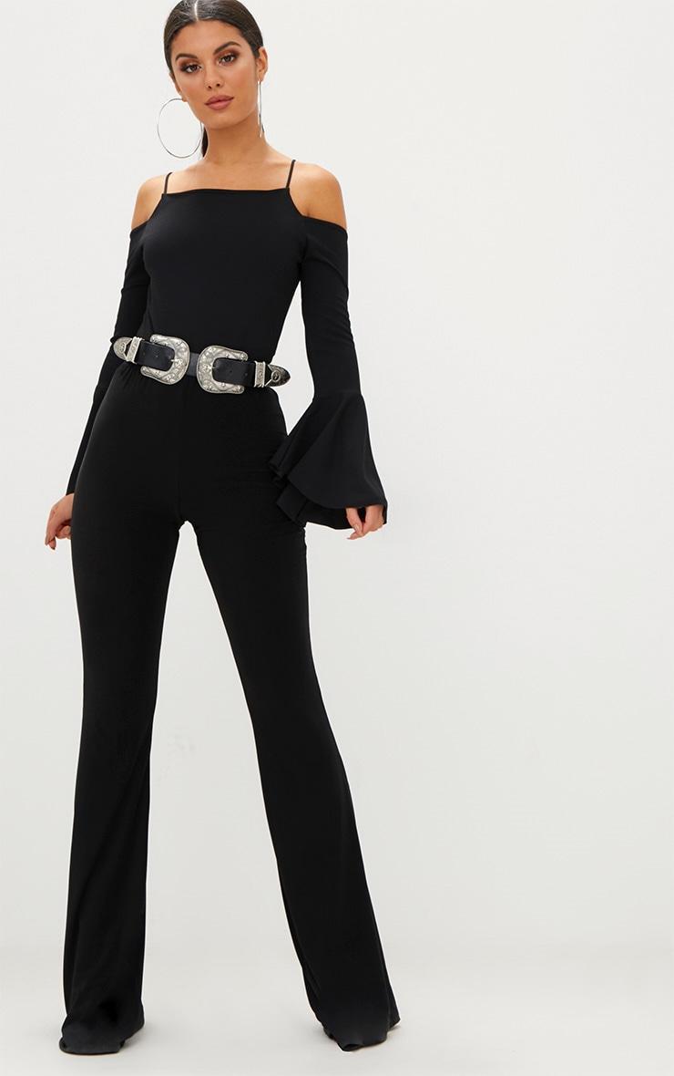 Black Flute Sleeve Cold Shoulder Thong Bodysuit 5