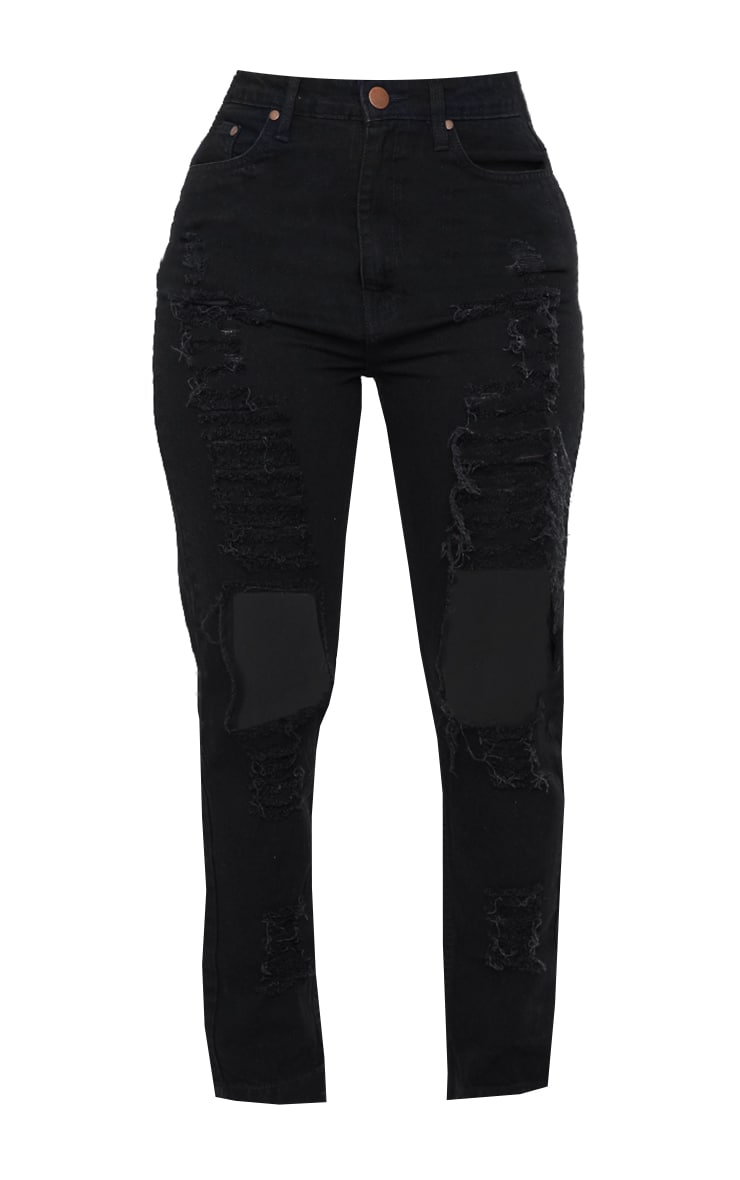 Shape Black High Waist Extreme Ripped Straight Jeans 5