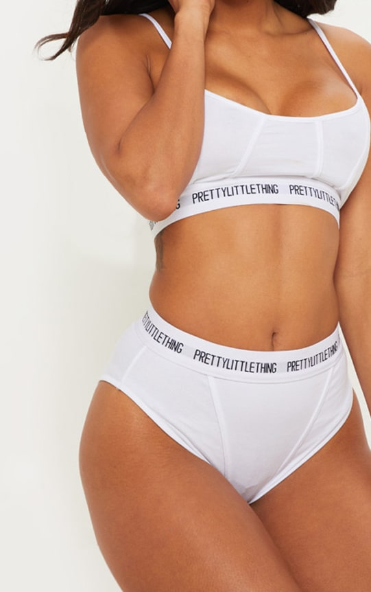 PRETTYLITTLETHING White Binding Detail Knickers 1