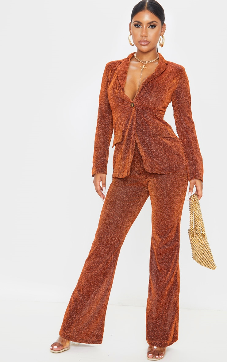 Rust Glitter Structured Suit Woven Blazer    4