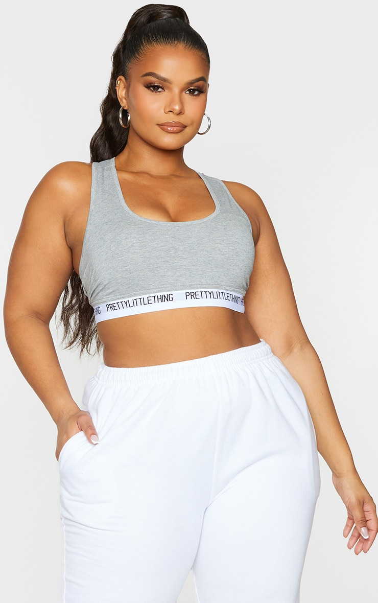 PRETTYLITTLETHING Plus Grey Light Sports Bra 1