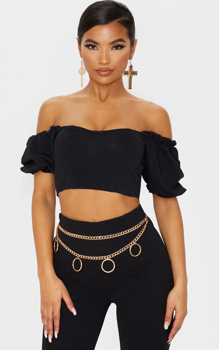 Black Textured Crepe Bardot Puff Sleeve Crop Top 1