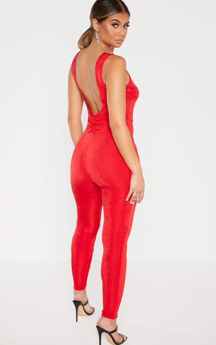 Red Slinky Ruched Back Jumpsuit 1