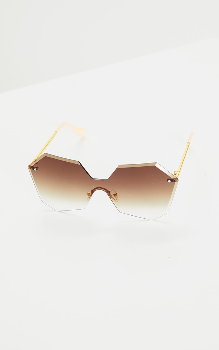 Brown Fade Rimless Faceted Hexagon Oversized Sunglasses 2