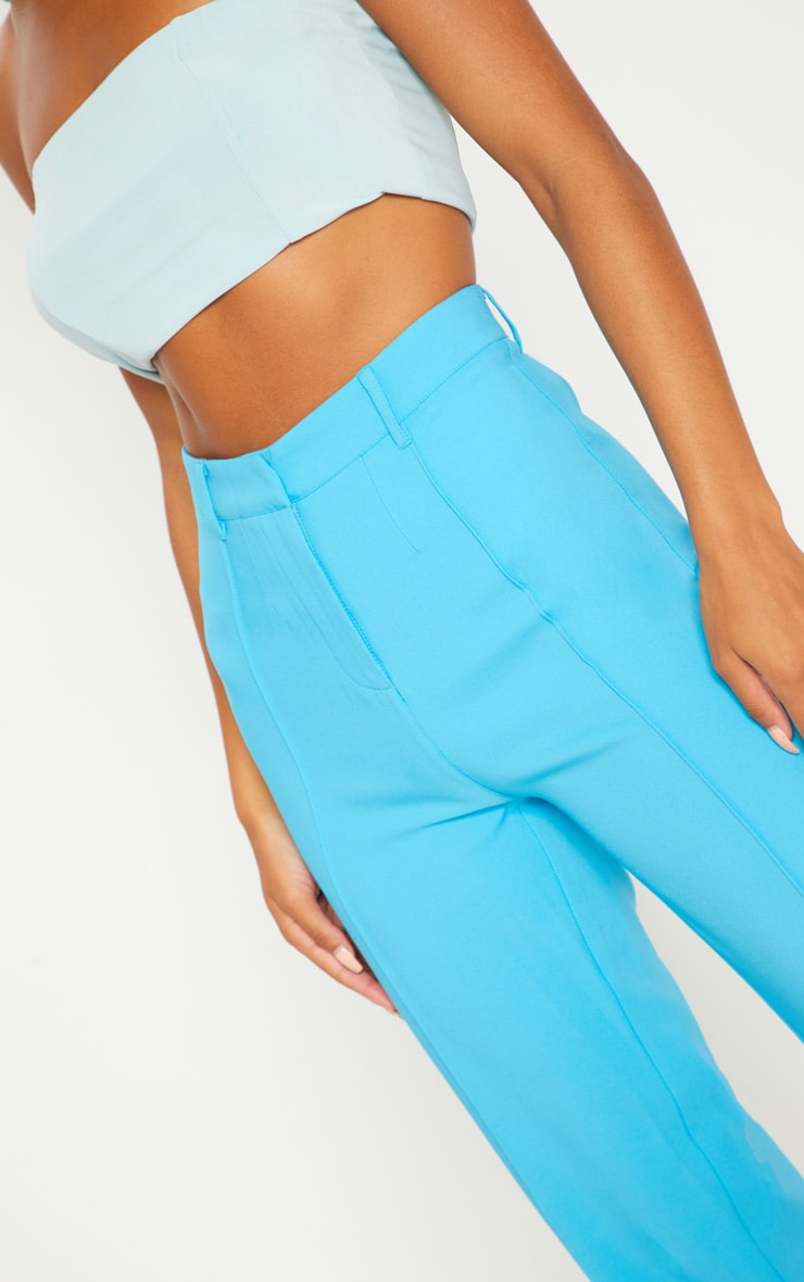 Bright Blue High Waisted Straight Leg Trouser 5
