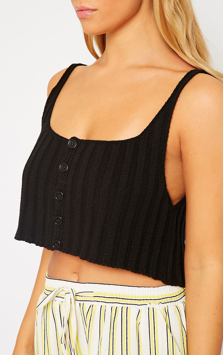 Susy Black Knitted Cropped Vest Top 5