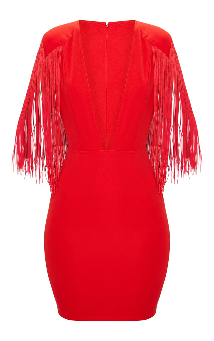 Red Tassel Shoulder Extreme Plunge Bodycon Dress  4
