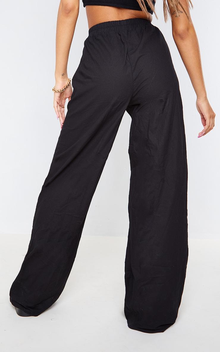 Black Textured Linen Look Elasticated Waist Wide Leg Pants 3