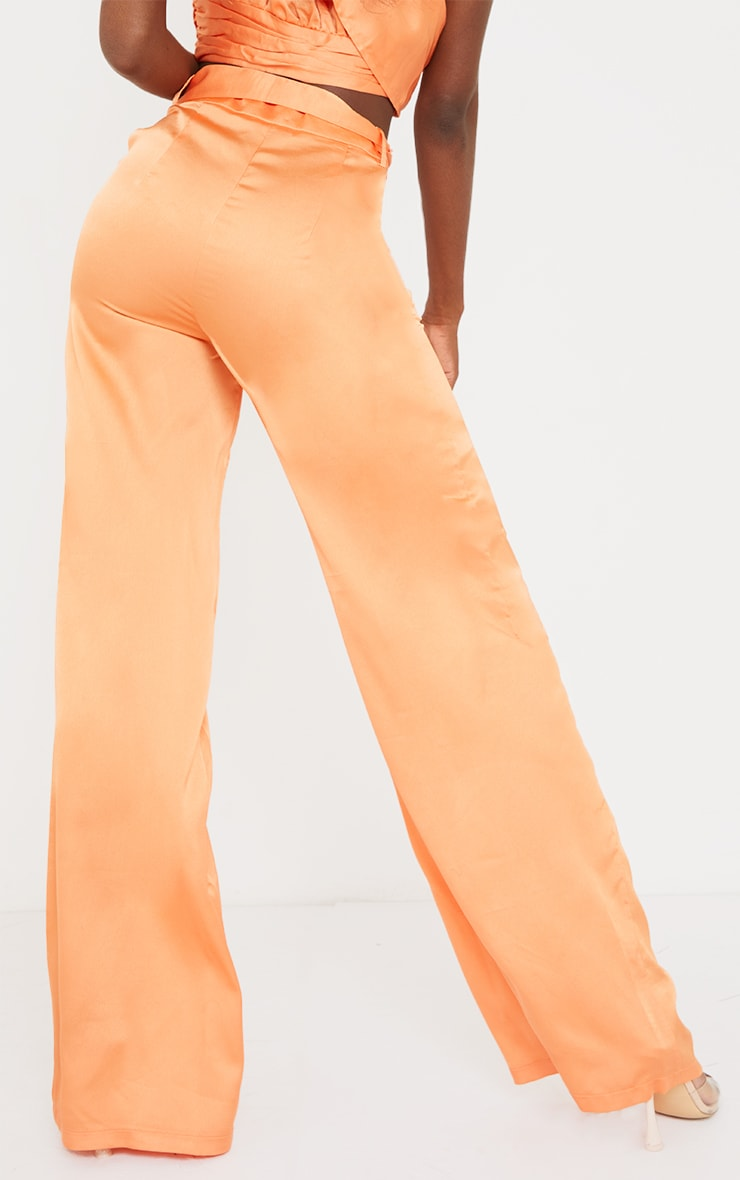 Tall Peach Satin High Waisted Belted Pants 3
