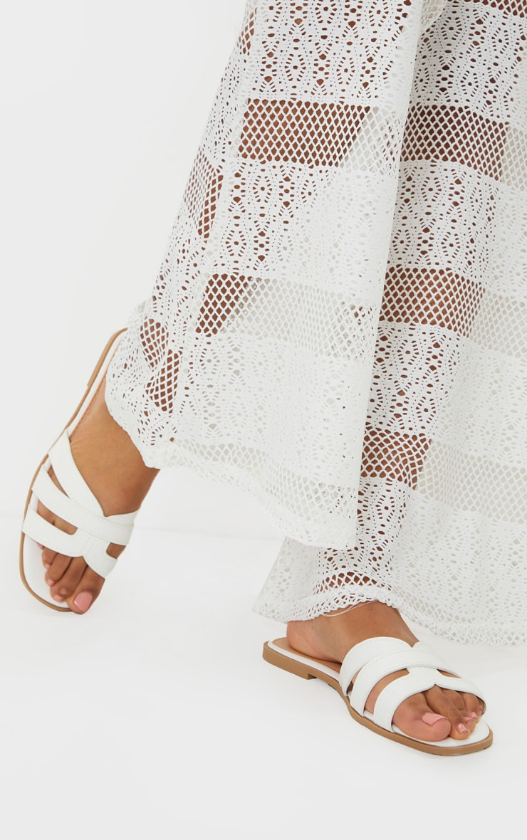 White Cross Strap Mule Flat Sandals 1