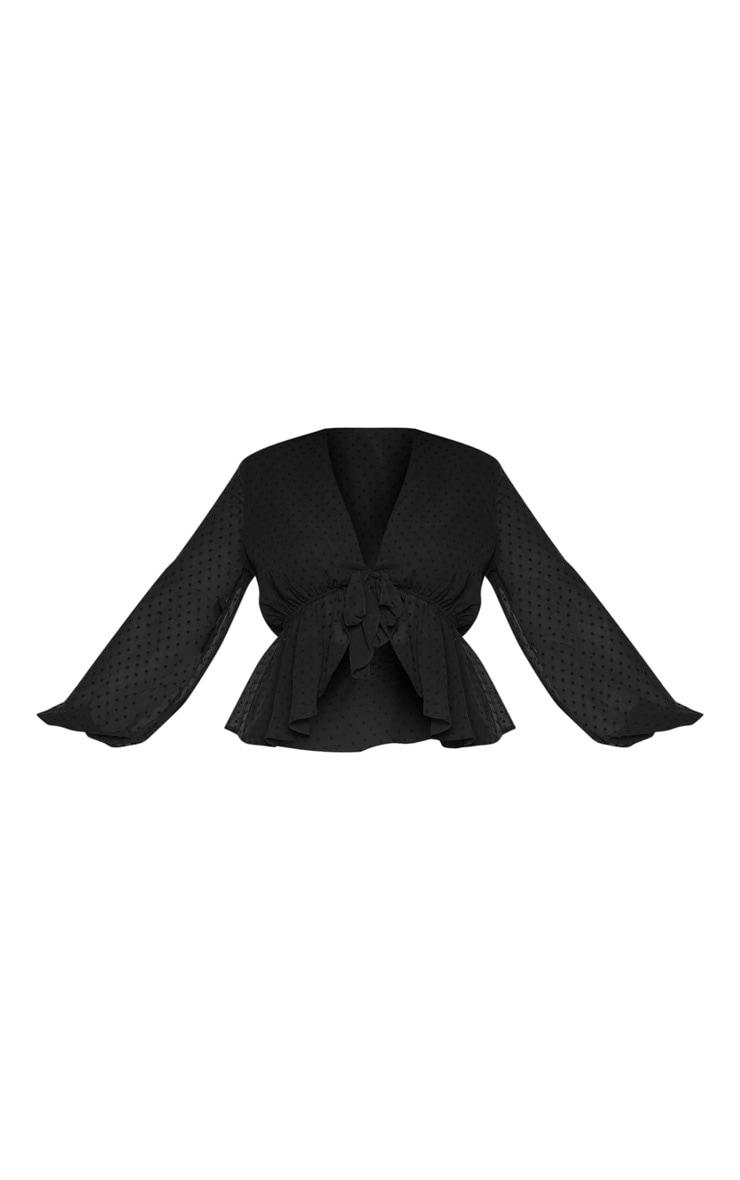 Plus Black Dobby Mesh Tie Front Blouse 3