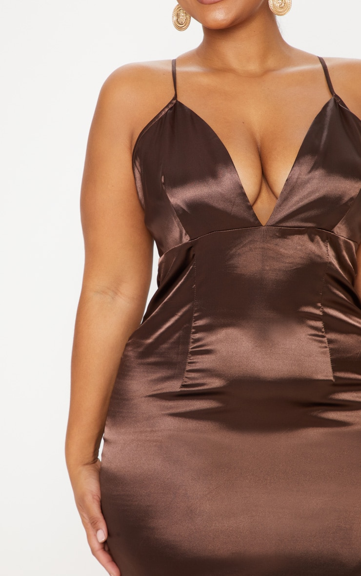 Plus Chocolate Brown Satin Strappy Maxi Dress 5
