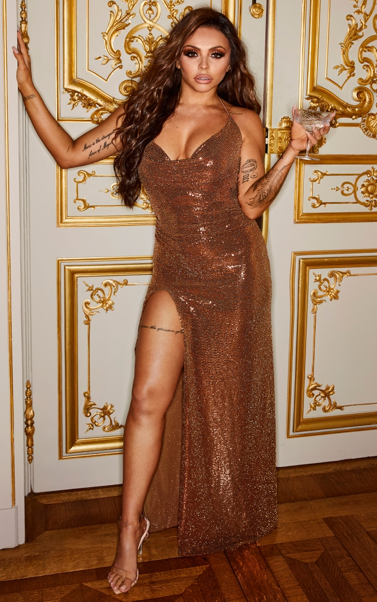 Bronze Sequin Cowl Neck Maxi Dress 1