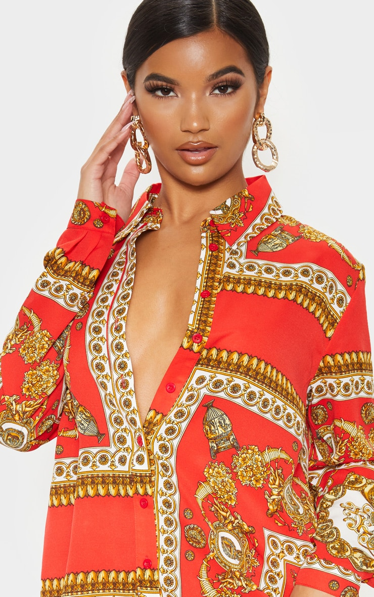 Red Scarf Print Oversized Shirt 5