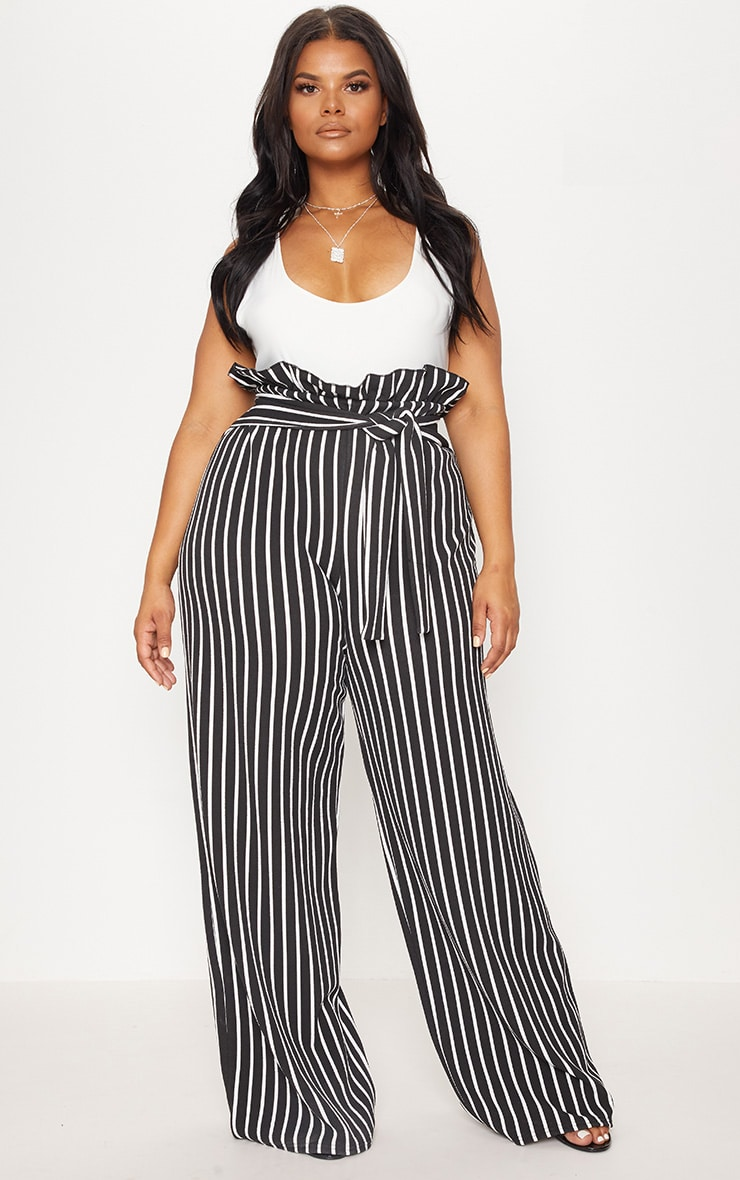 Plus Black Striped Paperbag High Waisted Wide Leg Trousers 1
