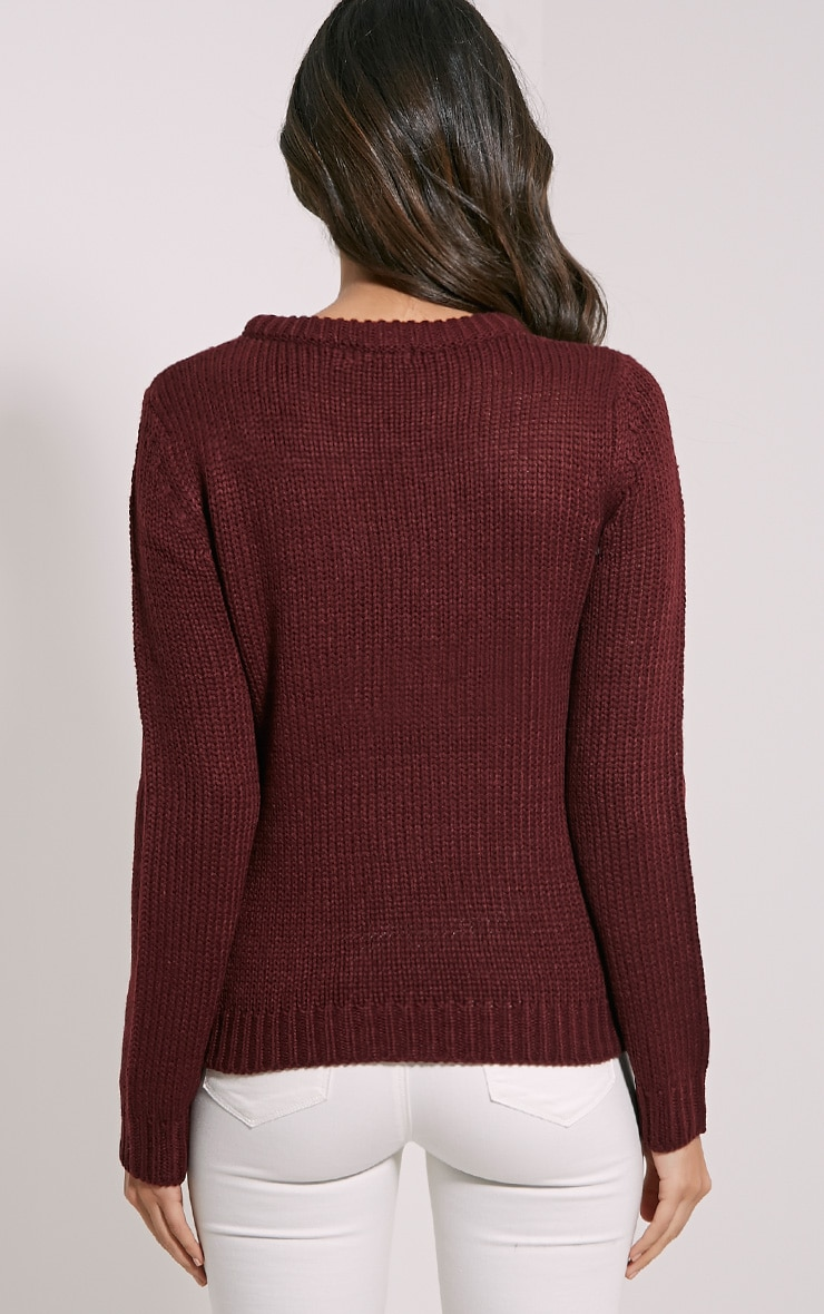 Jaslene Burgundy Cable Knit Jumper 2
