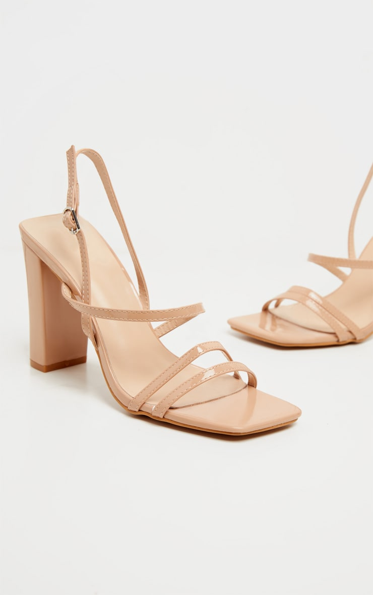 Nude Square Toe Flat Block Heel Strappy Sandal 3
