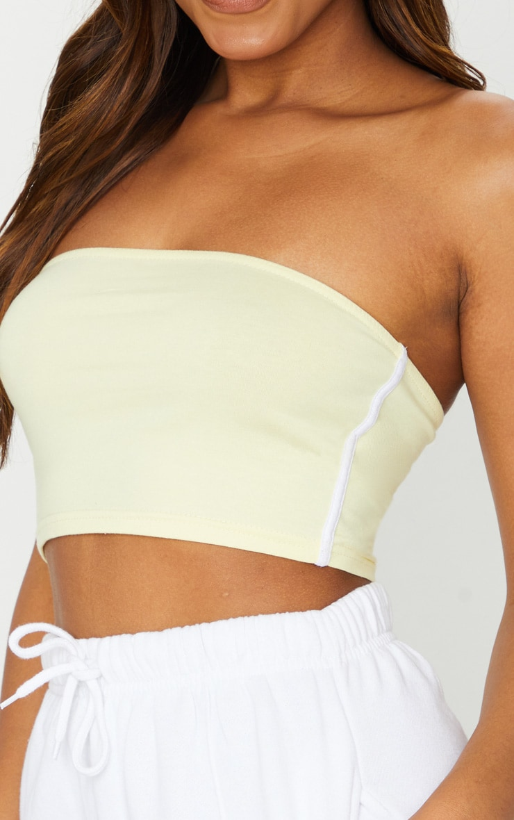 Cream Sport Stripe Bandeau Crop Top 4
