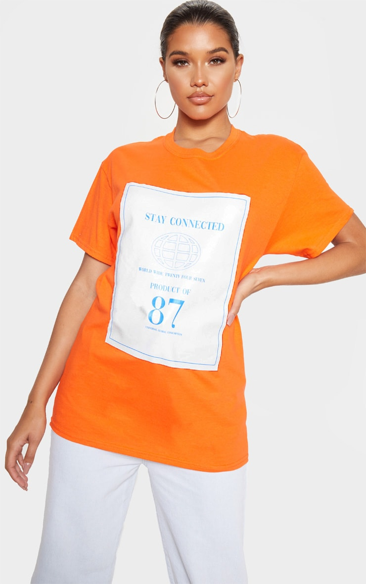 Orange Stay Connected Printed Oversized T Shirt 4