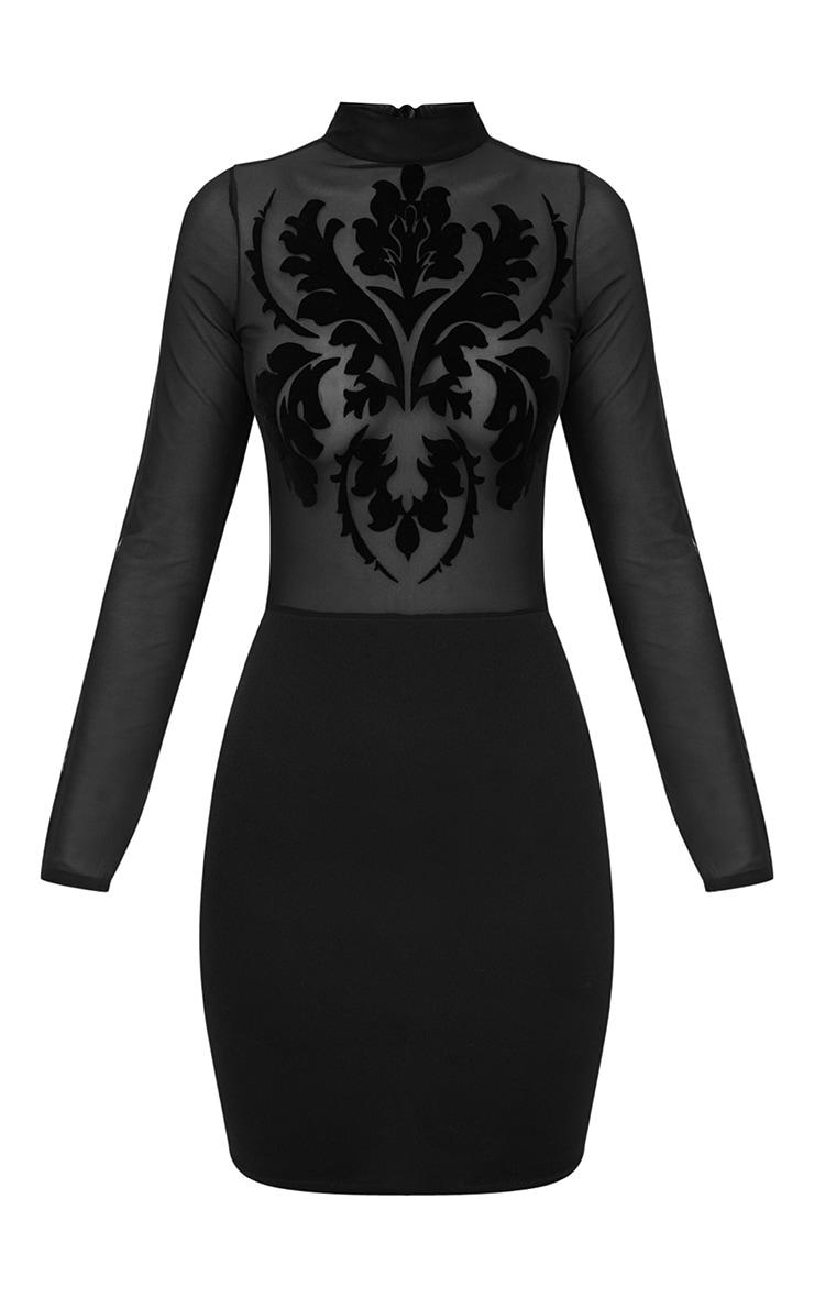 Black Sheer Flocked Mesh Bodycon Dress 3