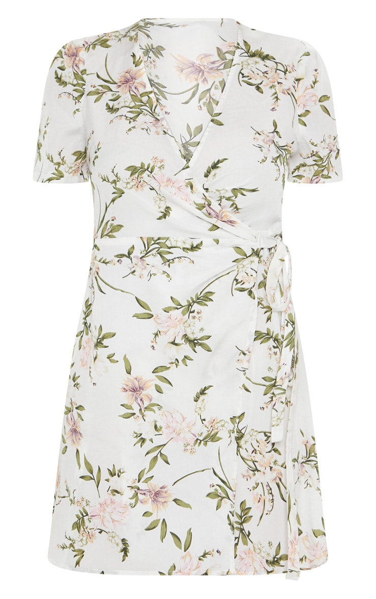 White Floral Print Tea Dress 3