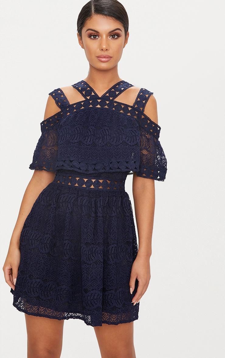 Navy Cold Shoulder Lace Skater Dress 1
