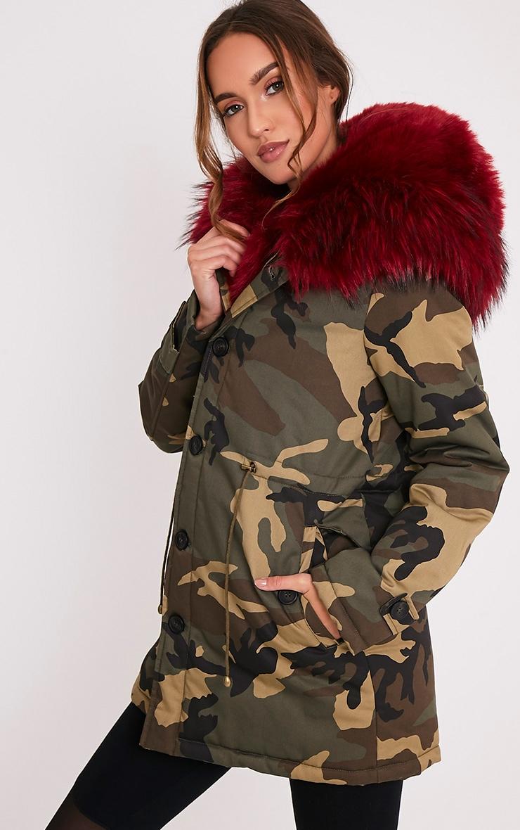 Fliss Red Premium Camo Faux Fur Lined Parka 4