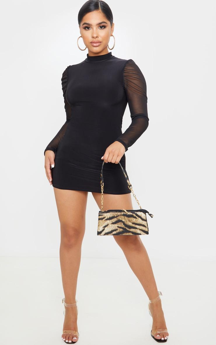 Petite Black Organza Sleeve Slinky Mini Dress 4