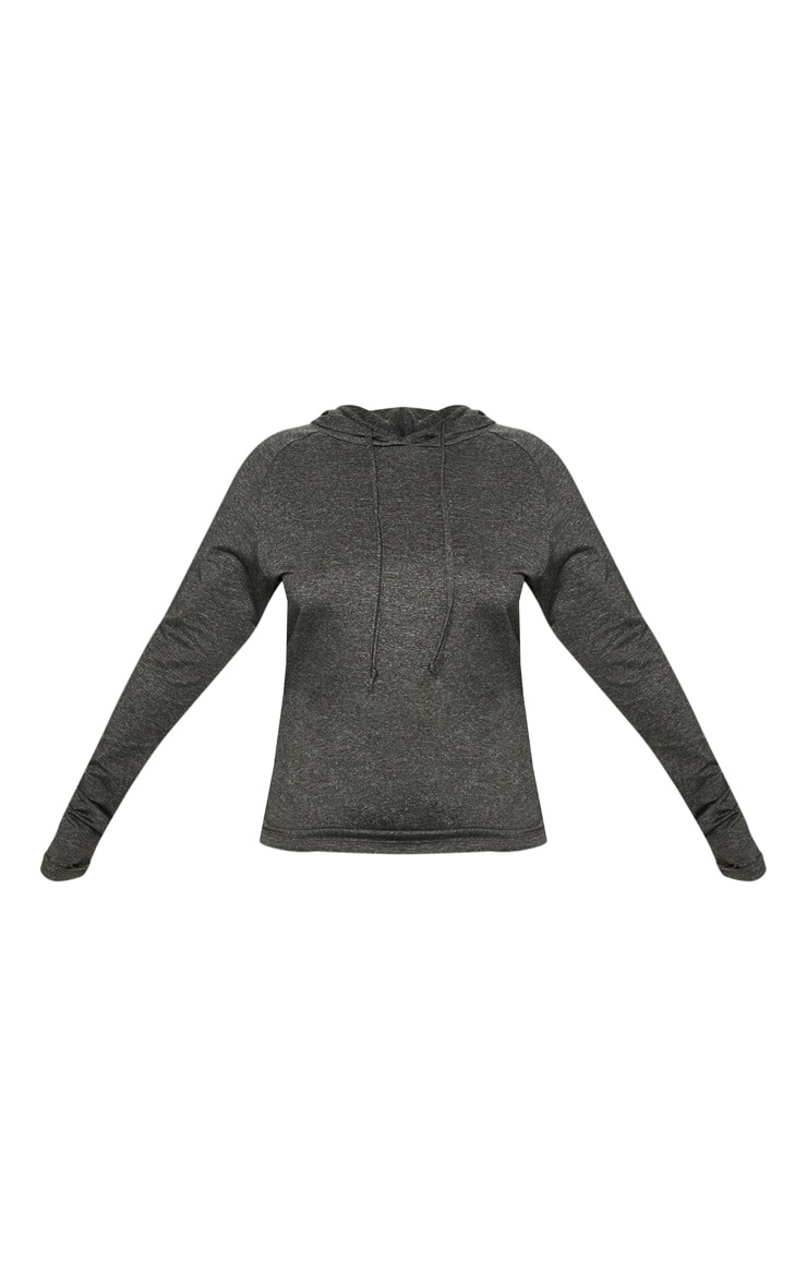 Plus Charcoal Long Sleeve Hooded Gym Top 3