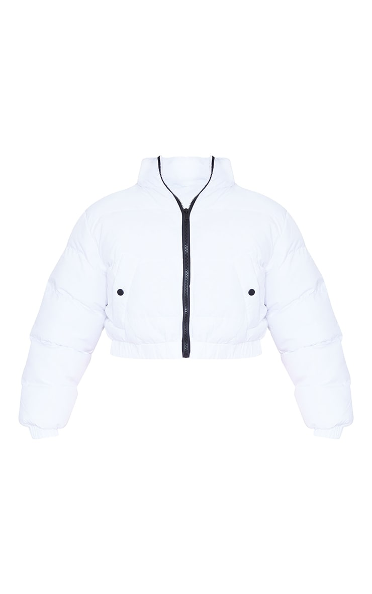 White Cropped Bubble Zip Detail Puffer Jacket 5