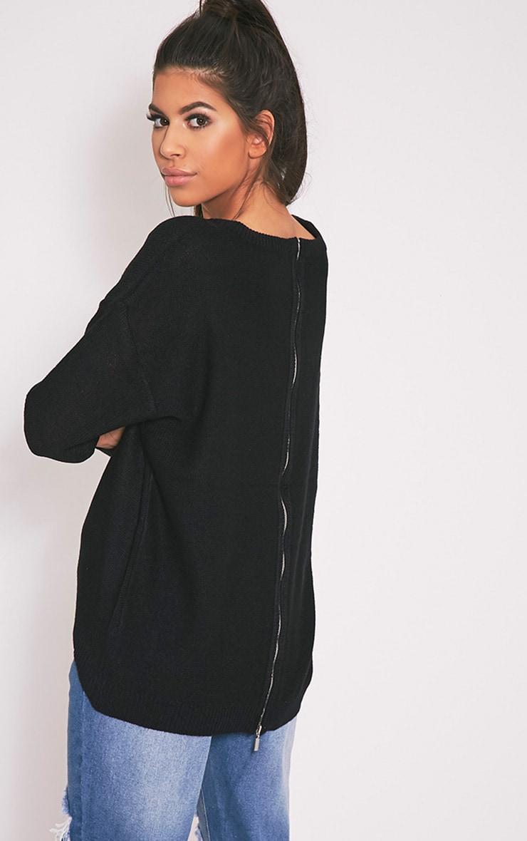 Trisha Black Zip Back Knitted Jumper 4
