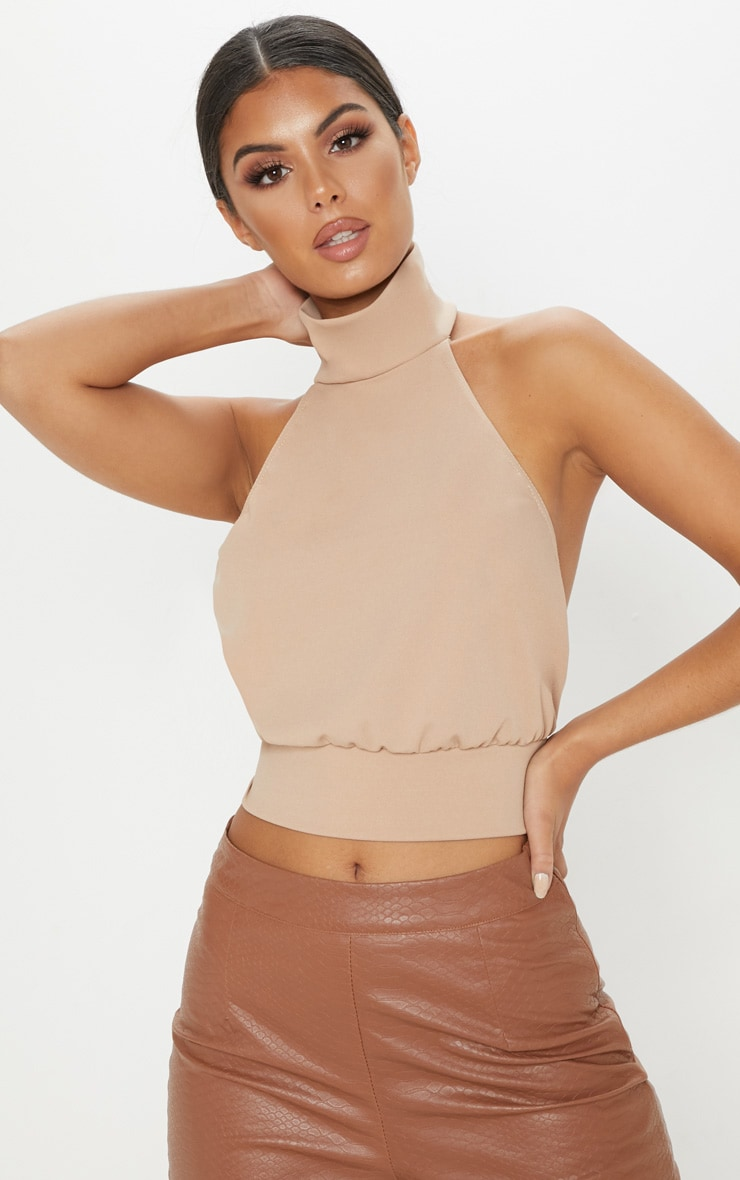 Champagne Backless Halterneck Top