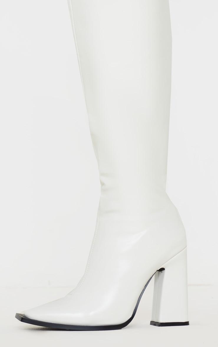 White Square Toe Block Heel Calf Boot 4