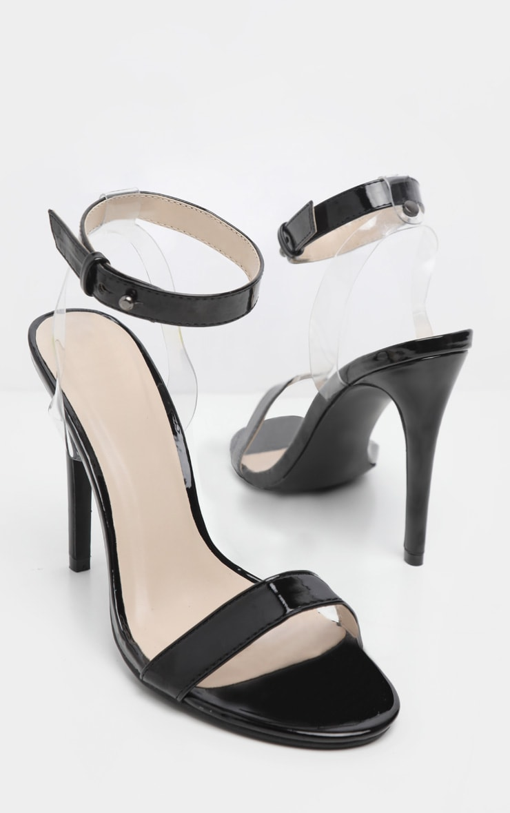 Black Clear Heel Strappy Sandal 3