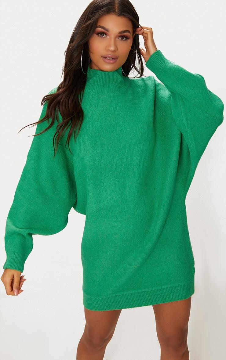 Green Oversized Jumper Dress 4