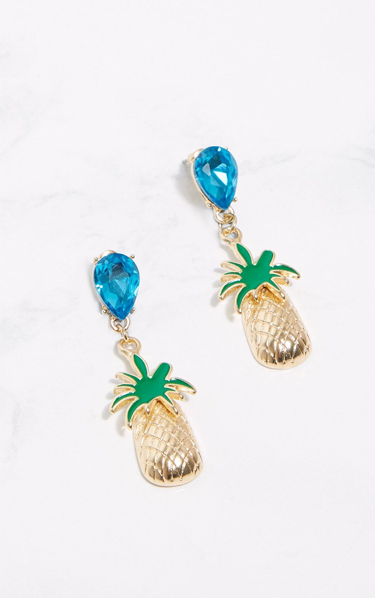 Blue Diamante Gold Pineapple Drop Earrings 3