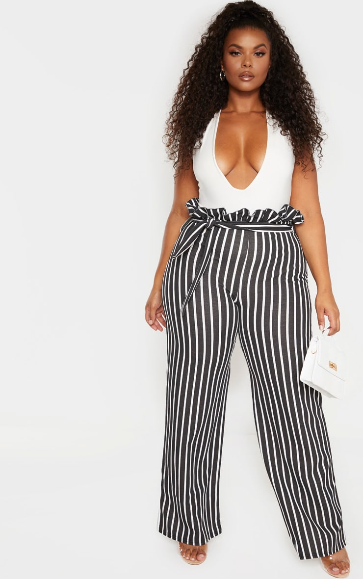 Plus Black Striped Paperbag High Waisted Wide Leg Pants 1