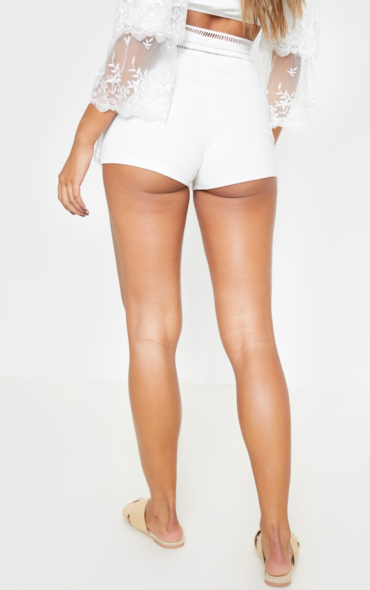 White Mesh Embroidered High Waisted Hot Pants 4